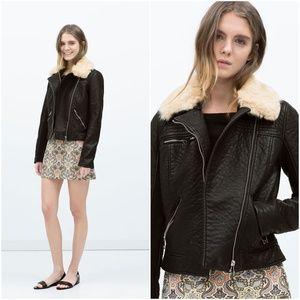 ZARA Fur Collar Jacket :Black, US L/EUR L